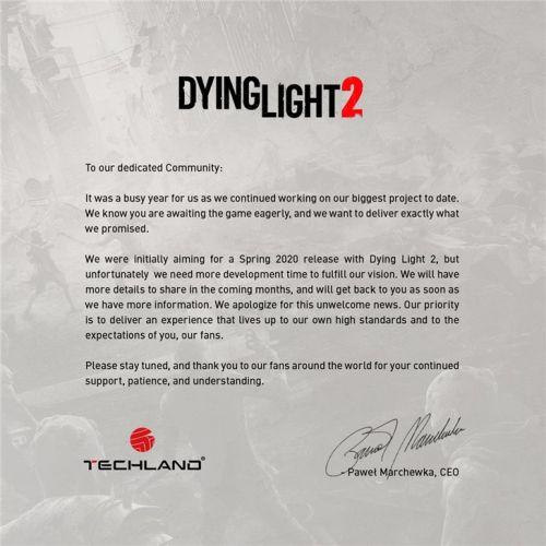 Techland新作《消逝的光芒2》宣布延期